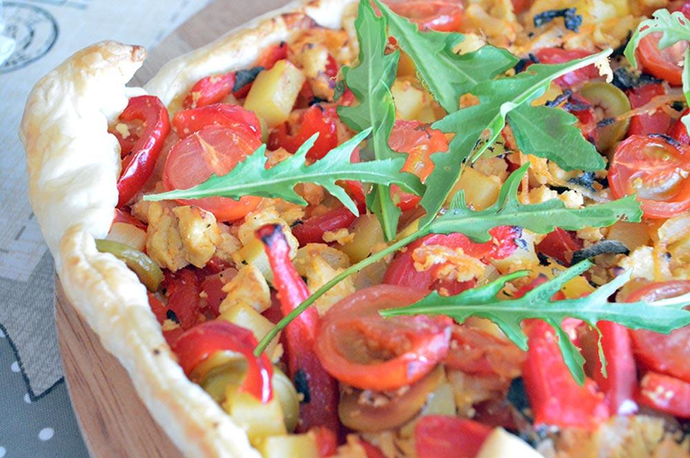 torta salata ai peperoni vegan