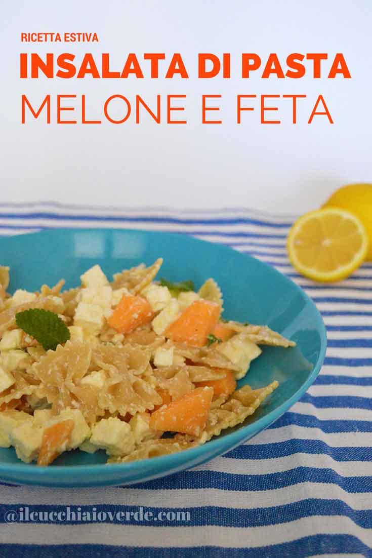 insalata di pasta melone e feta