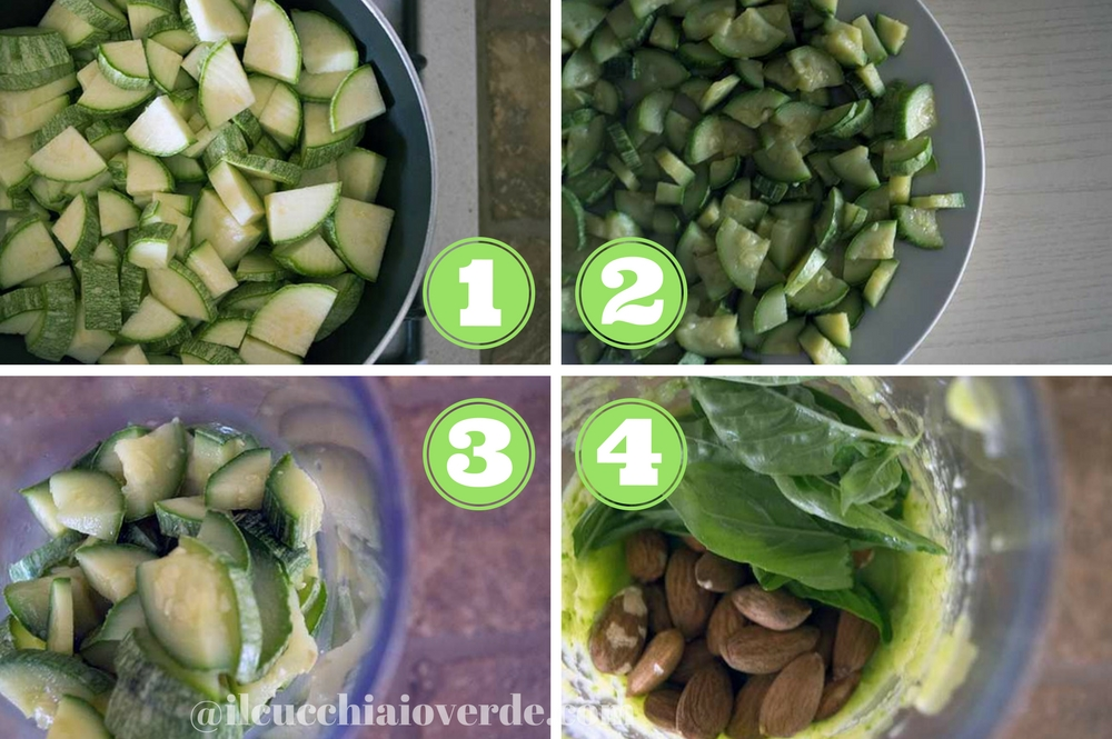 preparazione pesto di zucchine