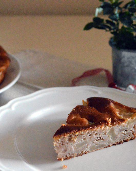 torta di ricotta con pere e castagne